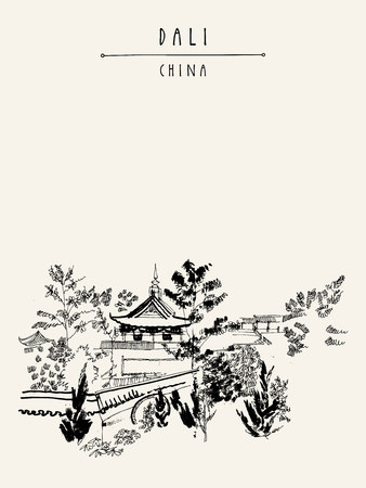 ancient architecture: Chinese temple in Dali, Yunnan province, China. Handdrawn vintage touristic postcard or poster in vector