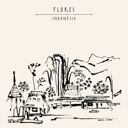 flores: Tribal village near Bajawa, Flores, East Nusa Tenggara province, Indonesia. Bamboo, hills and sacred houses. Travel sketch. Hand drawn vintage book illustration, postcard or poster template in vector