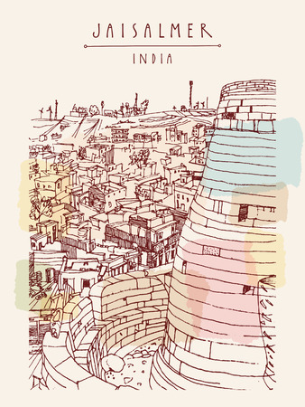 jaisalmer: Jaisalmer fort and the city. Rajasthan, India. Handdrawn touristic postcard in vector