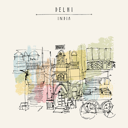 bazar: Old historic building and a cart in Main Bazar, Paharganj, Delhi, India. Hand drawn cityscape sketch. Travel art. Vintage artistic postcard template. Vector illustration Illustration