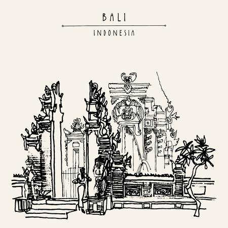 Balinesischen Hindu-Tempel in Bali, Indonesien, Asien. Traditionelle Galungan Dekoration. Grungy Freihandzeichnen. Handzeichnung. Reise Skizze. Buchillustration, Postkarte oder Poster-Vorlage in Vektor Standard-Bild - 58716458