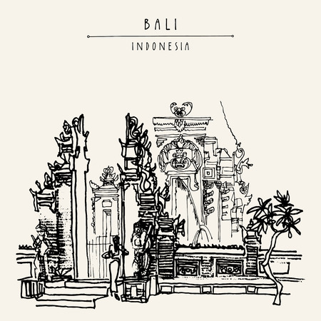 Balinese Hindu temple in Bali, Indonesia, Asia. Traditional Galungan decoration. Grungy freehand drawing. Hand drawing. Travel sketch. Book illustration, postcard or poster template in vector Illustration