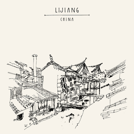 Traditional Chinese houses on the river in Lijiang, Yunnan, China. Artistic hand drawing. Travel sketch. Vintage poster, banner, postcard or calendar page template 版權商用圖片 - 58716461