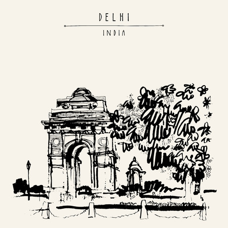 archway: View of India Gate in Delhi, India. Vintage hand drawn postcard template. Vector illustration