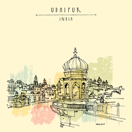 hindu temple: View of Udaipur, Rajasthan, India. Hindu temple, ghat. Hand drawn cityscape sketch. Travel art. Vintage artistic postcard template. Vector illustration