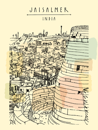 india city: Jaisalmer fort and the city. Rajasthan, India. Handdrawn touristic postcard in vector