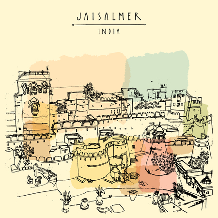 View of Jaisalmer fort and the city, Rajasthan, India. Vintage touristic postcard, poster, book illustration or calendar template with sketchy hand drawing and hand lettered title