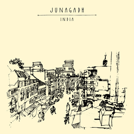 old buildings: Old buildings in Junagadh, Gujarat, India. Hand drawn cityscape sketch. Travel art. Vintage artistic postcard template. Vector illustration