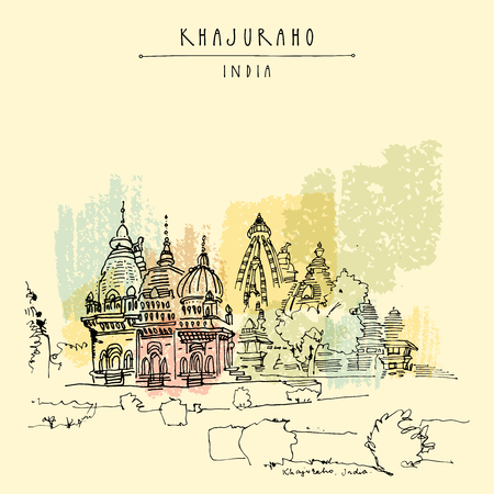 Ancient Hindu temples in Khajuraho, Madhya Pradesh, India. Vintage hand drawn postcard or poster template. Vector illustration