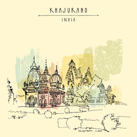 Ancient Hindu temples in Khajuraho, Madhya Pradesh, India. Vintage hand drawn postcard or poster template. Vector illustration Illustration