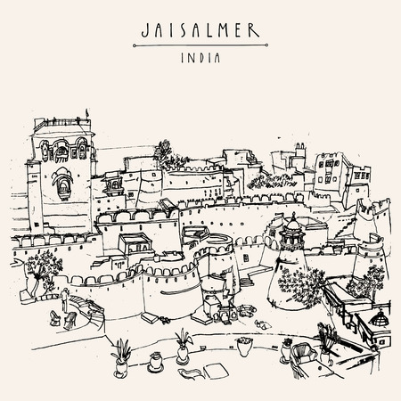 india city: View of Jaisalmer fort and the city, Rajasthan, India. Vintage touristic postcard, poster, book illustration or calendar template with sketchy hand drawing and hand lettered title