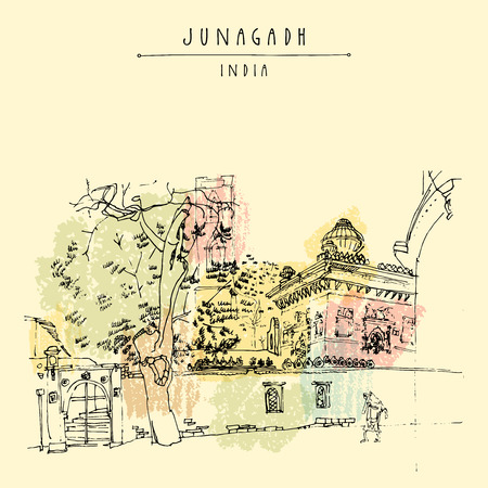 gujarat: Junagadh, Gujarat, India. Hand drawn cityscape sketch. Travel art. Vintage artistic postcard template. Vector illustration Illustration