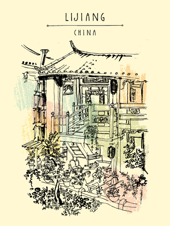 Traditional Chinese houses in Lijiang, Yunnan, China. Artistic hand drawing. Travel sketch. Vintage style travel poster, banner, postcard or calendar page template 版權商用圖片 - 58716610