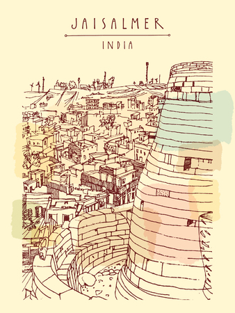 sand asia: View of Jaisalmer fort and the city, Rajasthan, India. Vintage touristic postcard, poster, book illustration or calendar template with sketchy hand drawing and hand lettered title