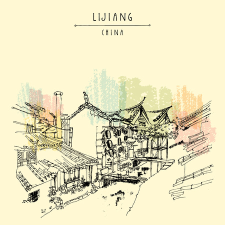Traditional Chinese houses on the river in Lijiang, Yunnan, China. Artistic hand drawing. Travel sketch. Vintage poster, banner, postcard or calendar page template Çizim