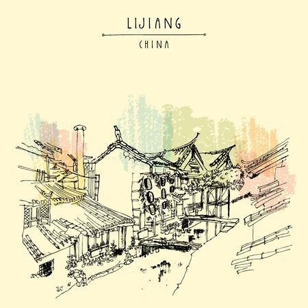 Traditionele Chinese huizen aan de rivier in Lijiang, Yunnan, China. Artistieke hand tekenen. Travel schets. Uitstekende affiche, banner, ansichtkaart of agenda-pagina sjabloon