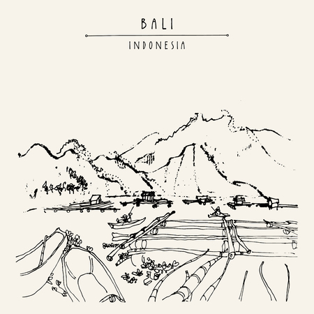 bali province: Volcano lake Batur and fishing boats near Kintamani, Bali province, Indonesia, Southeast Asia. Hand drawing. Travel sketch. Book illustration, postcard or poster template in vector