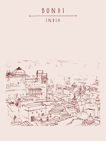 Bundi, Rajasthan, India. Above view of town. Artistic drawing. Indian travel postcard or poster with hand lettering