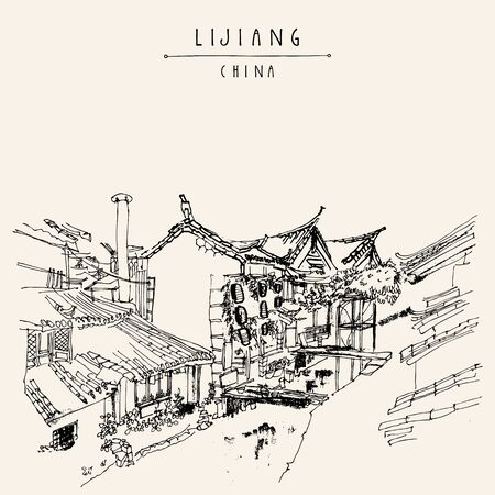 timbered: Traditional Chinese houses on the river in Lijiang, Yunnan, China. Artistic hand drawing. Travel sketch. Vintage poster, banner, postcard or calendar page template Illustration