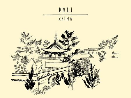 dali: Chinese temple in Dali, Yunnan province, China. Hand-drawn vintage touristic postcard or poster in vector