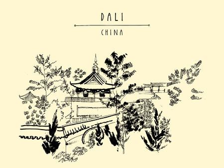 temple chinois à Dali, province du Yunnan, en Chine. carte postale touristique cru dessinée à la main ou une affiche dans le vecteur Vecteurs