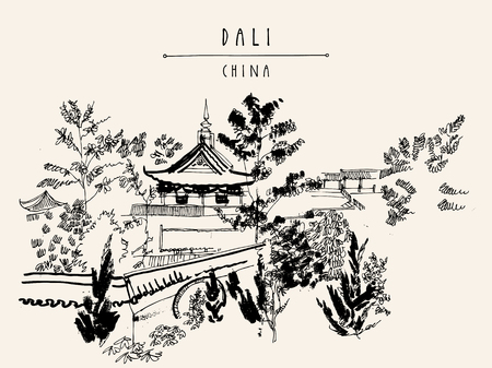 chinese style: Chinese temple in Dali, Yunnan province, China. Handdrawn vintage touristic postcard or poster in vector