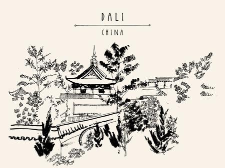 templo chino en Dali, provincia de Yunnan, China. postal de la vendimia turístico handdrawn o un cartel en el vector
