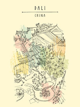 dali: Park in Dali, Yunnan province, China, Asia. Artistic hand drawing. Travel sketch. Hand-drawn vintage touristic postcard, poster or book illustration in vector Illustration
