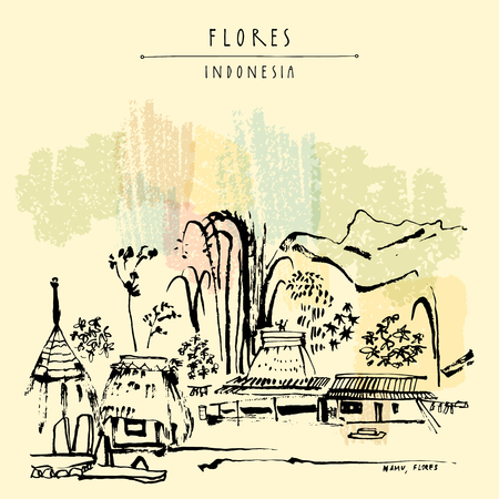 flores vintage: Tribal village near Bajawa, Flores, East Nusa Tenggara province, Indonesia. Bamboo, hills and sacred houses. Travel sketch. Hand drawn vintage book illustration, postcard or poster template in vector