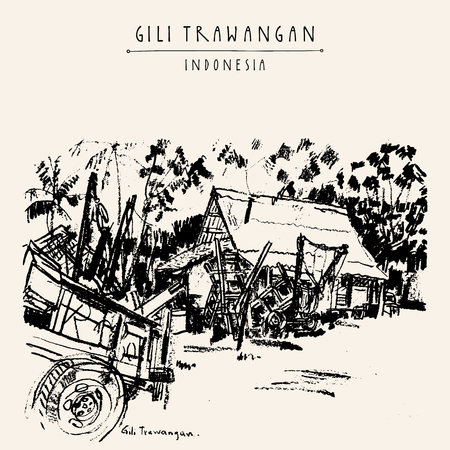 horse and cart: Horse carts, palm trees, house. Gili Trawangan island, West Nusa Tenggara, Indonesia, Asia. Travel sketch. Hand-drawn vintage book illustration, greeting card, postcard or poster template in vector