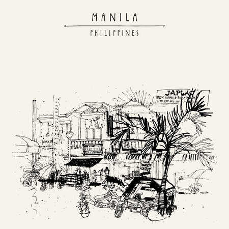 Eine Straße in der Altstadt von Manila, Philippinen, Asien. Hand Vintage-Postkarte oder Poster-Vorlage in Vektor gezeichnet