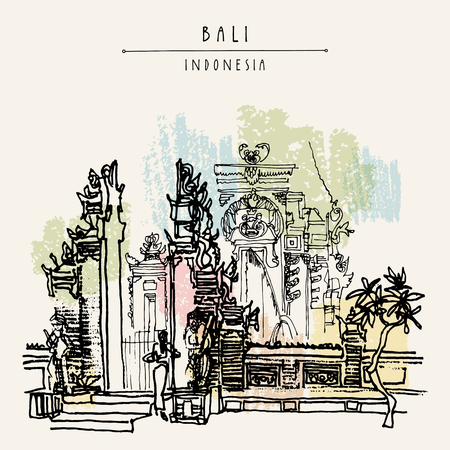 Balinese Hindu temple in Bali, Indonesia, Asia. Traditional Galungan decoration. Grungy freehand drawing. Hand drawing. Travel sketch. Book illustration, postcard or poster template in vector 일러스트