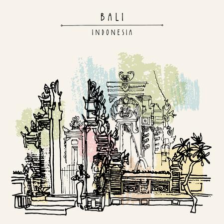 Balinese hindoe-tempel in Bali, Indonesië, Azië. Traditionele Galungan-decoratie. Grungy uit de vrije hand tekenen. Handtekening. Reisschets. Boekillustratie, prentbriefkaar of affichemalplaatje in vector Stockfoto - 58717979
