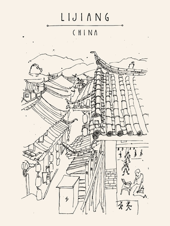 timbered: Traditional Chinese houses in Lijiang, Yunnan, China. Artistic hand drawing. Travel sketch. Vintage style travel poster, banner, postcard or calendar page template