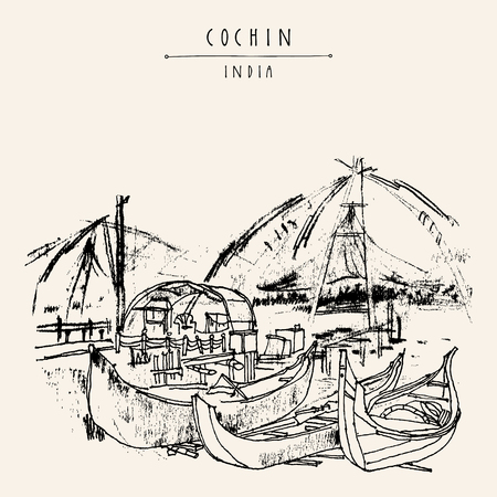 Wooden boats and Chinese traditional fishing nets in Cochin, Kerala, India. Vintage hand drawn postcard