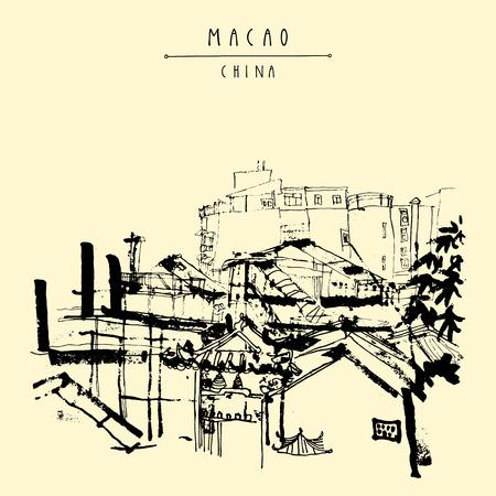 Vista superior de Macao de las ruinas de la catedral de St. Paul. Macao, China, Asia. casas chinas tradicionales. postal dibujada mano de la vendimia en el vector