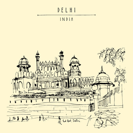 fort: View of Red Fort in Delhi, India. Vintage hand drawn postcard template. Vector illustration Illustration