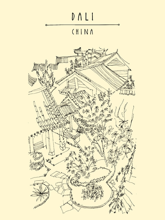 dali: Park in Dali, Yunnan province, China, Asia. Artistic hand drawing. Travel sketch. Handdrawn vintage touristic postcard or poster in vector