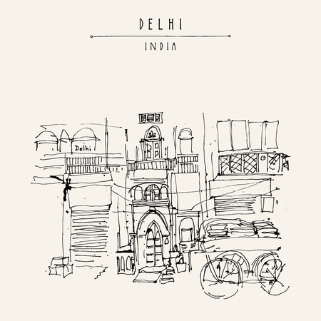 building sketch: Old historic building and a cart in Main Bazar, Paharganj, Delhi, India. Hand drawn cityscape sketch. Travel art. Vintage artistic postcard template. Vector illustration Illustration
