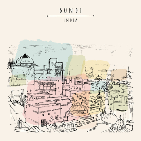Bundi, Rajasthan, India. Above view of town. Artistic drawing. Indian travel postcard or poster with hand lettering  Illustration