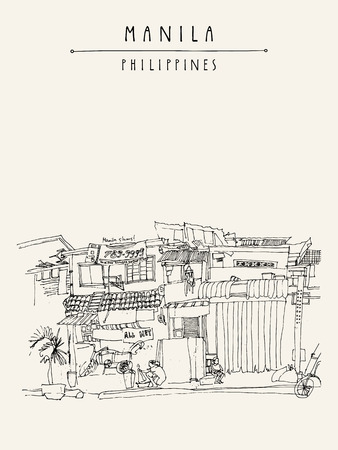 manila: Slums in the old part of Manila, Philippines, Asia. Hand drawn vintage postcard or poster template in vector Illustration