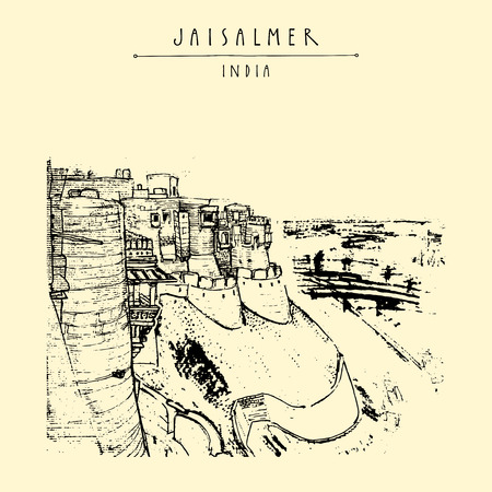 fort: Stunning view of Jaisalmer fort and the city, Rajasthan, India. Hand drawn cityscape sketch. Travel art. Vintage artistic postcard template. Vector illustration