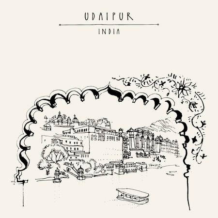 Ansicht von Udaipur, Rajasthan, Indien. Hand gezeichnete Skizze Stadtbild. Reise-Kunst. Vintage-künstlerische Postkarte Vorlage. Vektor-Illustration Standard-Bild - 58719526