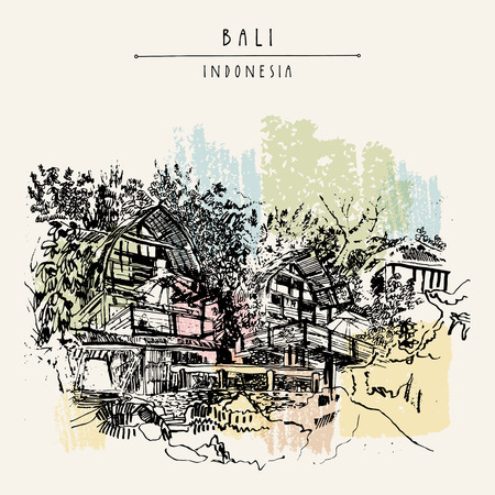 hotel indonesia: A beautiful hotel on the rocks at Padang Padang surf beach, Bali, Indonesia, Southeast Asia. Hand drawing. Travel sketch. Book illustration, postcard or poster template in vector
