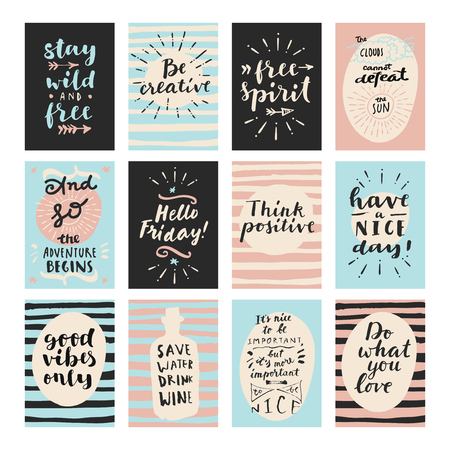 begins: Set of modern calligraphic posters. Inspirational quotes and good wishes. Free spirit, hello friday, good vibes only, and so the adventure begins, think positive, stay wild and free. Hand lettering