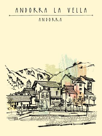 european alps: Andorra la Vella, capital of Andorra, Europe. Cozy European town in Pyrenees. Hand drawing in retro style. Travel sketch. Vintage touristic postcard, poster, calendar or book illustration in vector