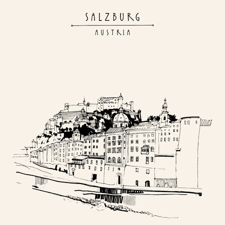 mozart: Salzburg, Salzburger Land, Austria, Europe. Festung Hohensalzburg castle, church, houses,  Salzach river. Hand drawing. Travel sketch. Vintage touristic postcard, poster or book illustration in vector