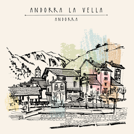 urban city: Andorra la Vella, capital of Andorra, Europe. Cozy European town in Pyrenees. Hand drawing in retro style. Travel sketch. Vintage touristic postcard, poster, calendar or book illustration in vector