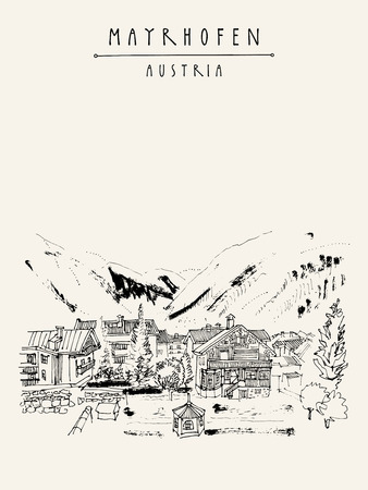 Mayrhofen, Tirol, Austria, Europe. Famous ski resort. Traditional Tirol houses in the valley. Hand drawing. Travel sketch. Vintage touristic postcard, poster or book illustration in vector