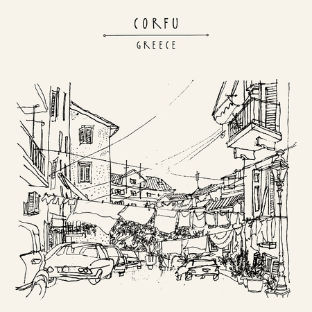 bed sheets: Street in Corfu, Greece, Europe. Retro style sketch. Buildings, hanging bed sheets drying, cars. Travel greeting card, postcard, poster template, book illustration in vector